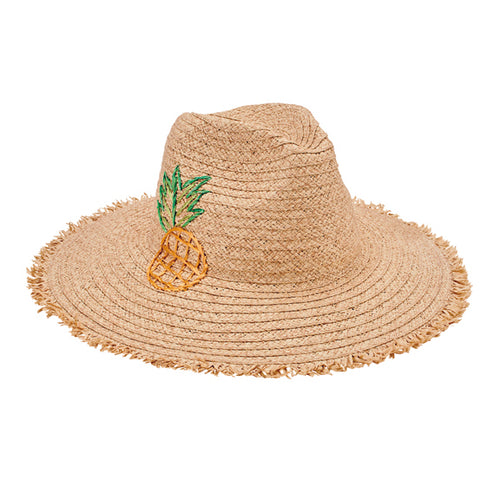 Women's paper straw fedora with embroidered pineapple and fray edge (PBF7349OSNAT)