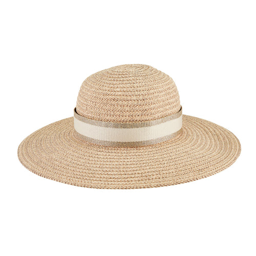 Women's Pattern Sun Hat w/ Webbed Gold Stripe (PBL3204)