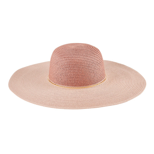 Women's Colorblock Paperbraid Sun Hat w/ Gold Ring Trim (PBL3208)