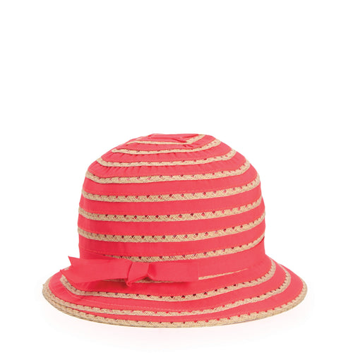 Kids Ribbon And Paper Straw Bucket Hat With Ribbon Bow Detail (RBK3080)