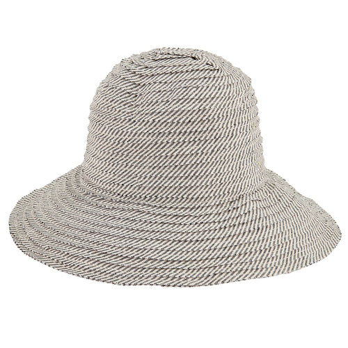 Women's Stripe Raw Edge Sun Hat (RBM4786)