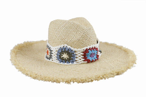 Women's Raffia Sunbrim with Granny Square Trim (RHL6662)