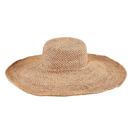 Women's Crochet Raffia Wide Brim Floppy