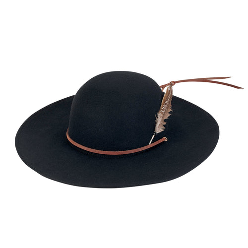 Mens Wool Felt W/ Feather Wide Brim Hat (SDH3003)