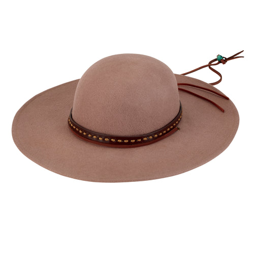 MENS FELT WIDE BRIM W/ BAND & CHIN CORD (SDH3008)