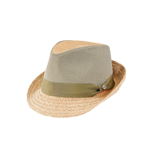 Men's Raffia Straw Braid & Cotton Fabric Applique Fedora (SDH9557)