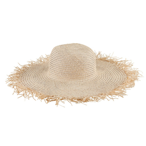 Women's Woven Sun Hat W/ Frayed Edge (SPS1006)