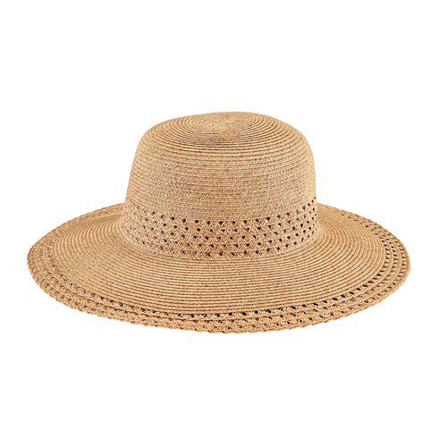 Women's Sun Hat W/ Open Weave Stripes (UBM4462)