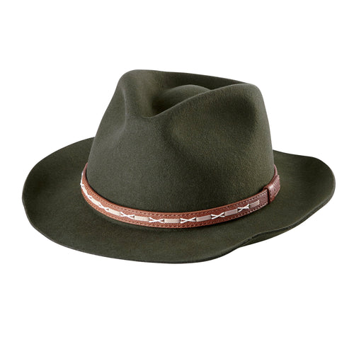 Mens Fedora With Camel Faux Leather Band (WFH7948OSOLV)