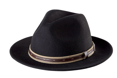 Mens Fedora With Faux Leather Band (WFH7952OSBLK)