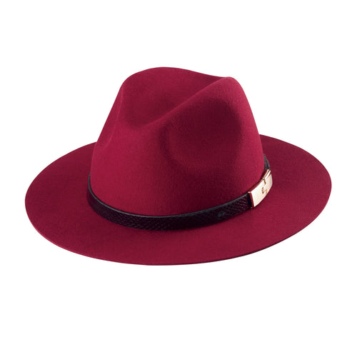 Womens Fedora With Faux Reptile Skin And Pony Hair Trim With Gold Buckle