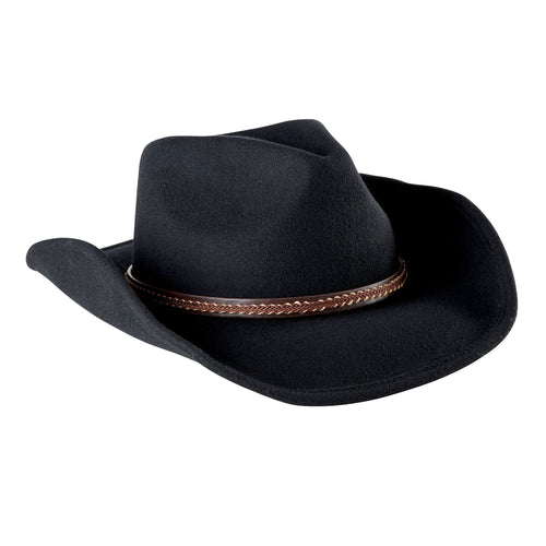 Mens Cowboy Hat With Brown Leather Band (WFH7996OSBLK)