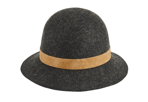 Women's wool felt cloche with leather band (WFH8206)