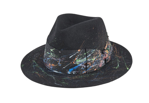 Women's wool felt fedora with paint splatter (WFH8214)
