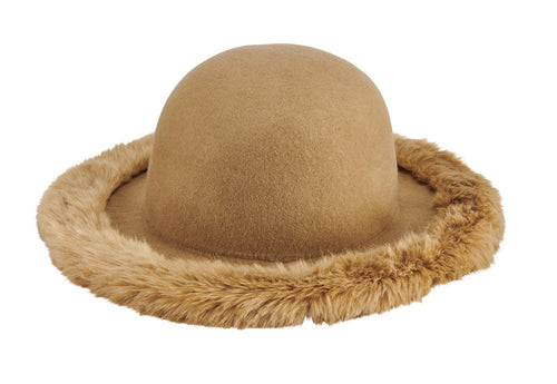 Women's wool felt floppy with faux fur brim edge (WFH8217)