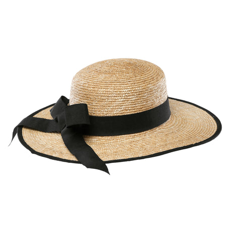 Women's round crown sinamay dress hat with band and multi layer bow (DRS1022)
