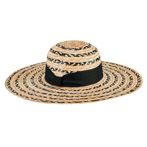 Women's Mixed Wheat Straw Stripe Sun Hat (WSH1222)