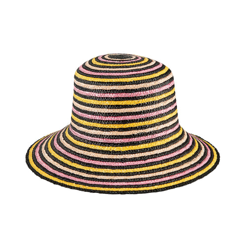 Women's Wheat Straw Stripe Bucket Hat (WSH1226)