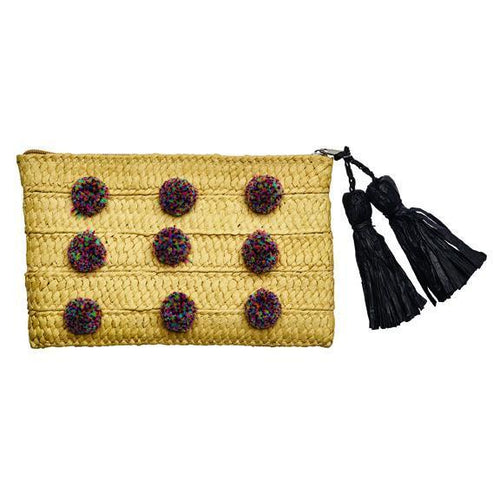 BAG - BaySky Woven Paper Clutch With Multi Colored Poms