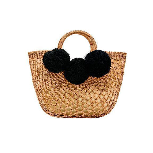 WOMENS OPEN WEAVE RATTAN BAG WITH POMS (BSB1748)
