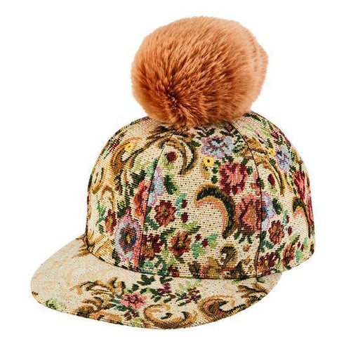 brocade ball cap with faux fur pom