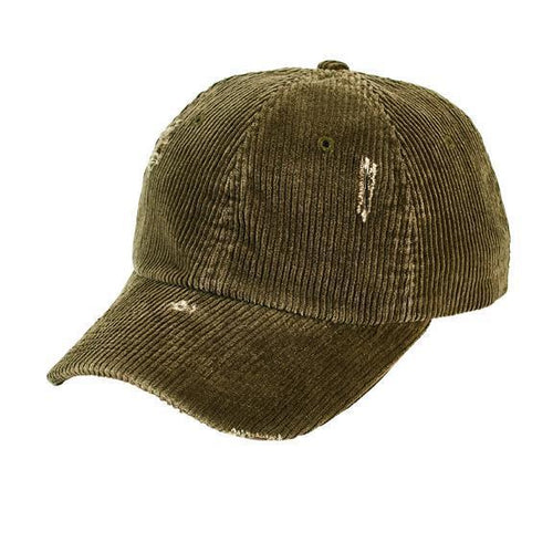distressed corduroy ball cap with adjustable back slider