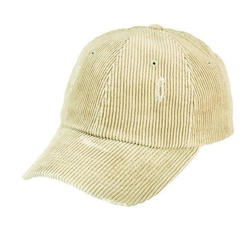 Distressed corduroy ball cap with adjustable back slider (CTH8155)