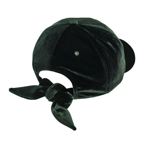 solid velvet ball cap with adjustable bow closure