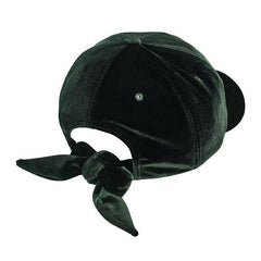 Solid velvet ball cap with adjustable bow closure (CTH8156)