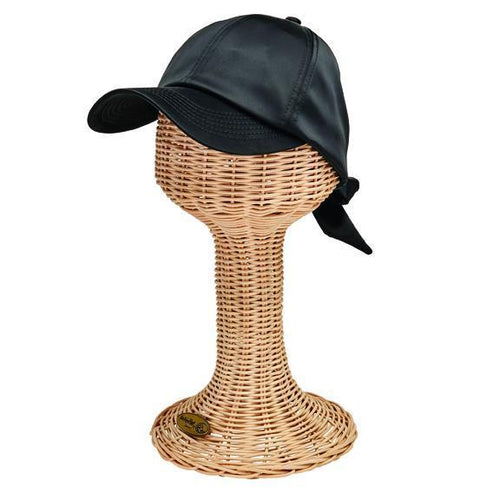 BASEBALL CAPS - Women's Satin Baseball Cap With Tie Back Bow Closure