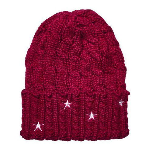 Cable knit beanie with star embroidery (KNH3588)