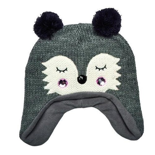 knit raccoon beanie with ear flaps (KNH3564)- FS