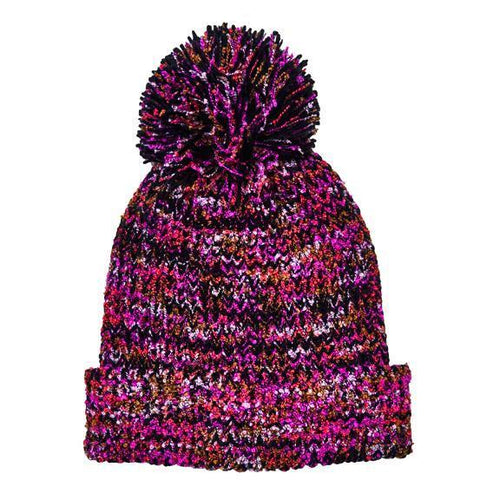 Multi yarn rib knit cuffed beanie with pom (KNH3603)