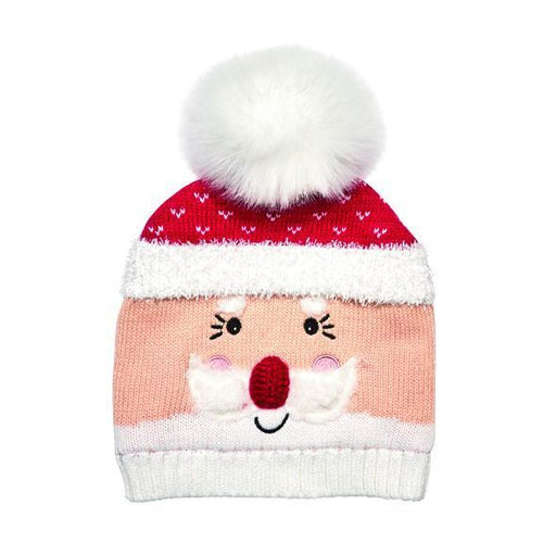 santa beanie with faux fur pom (KNH3586)