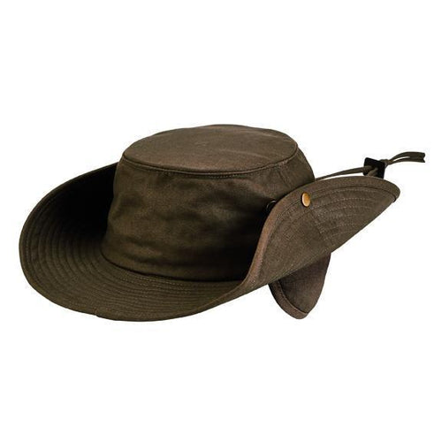 waxed cotton boonie with fleece lined ear covers (CTH1507)