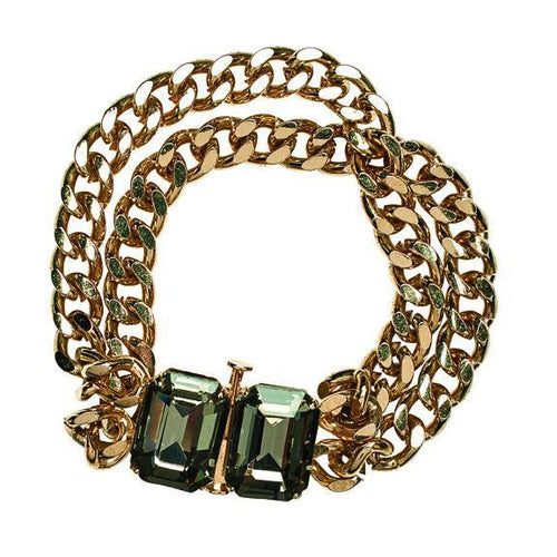 Chunky gold chain bracelet with faux gemstones (BSJ3519)