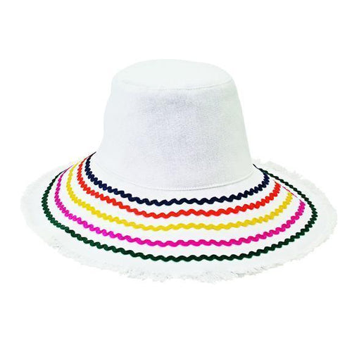Women's bucket hat with ric rac trim and fray edge (CTH8264)