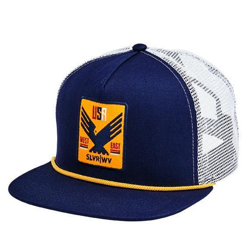 "CAP - FLAT BILL SNAPBACK TWILL TRUCKER CAP W/ ""USA WEST EAST"" PATCH"