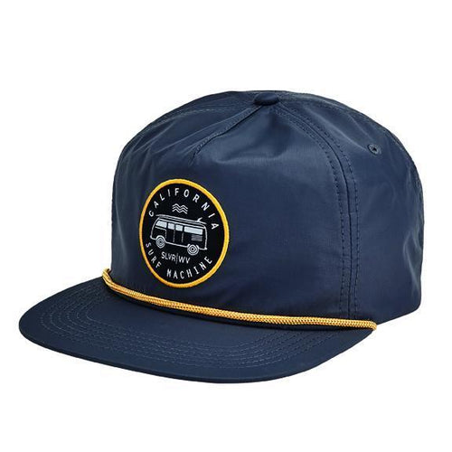 "CAP - NYLON TWILL FLAT BILL CAP W/ CONTRAST CORD, ADJUSTABLE BUCKLE CLOSURE AND ""CA SURF MACHINE"" PATCH"
