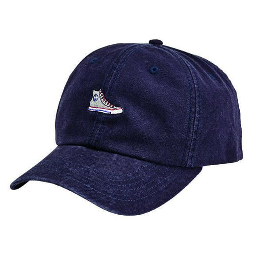 CAP - WASHED COTTON TWILL DAD CAP W/ VELCRO BACK CLOSURE & HIGH TOP SNEAKER FLAT EMBROIDERY