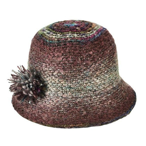 Womens Marled Yarn Knit Cloche (KNH3612)