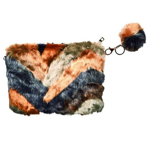 Chevron multi color faux fur clutch with chain strap (BSB3552)