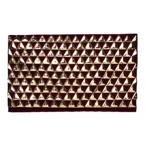 gold pyramids on red velvet clutch with hidden gold chain
