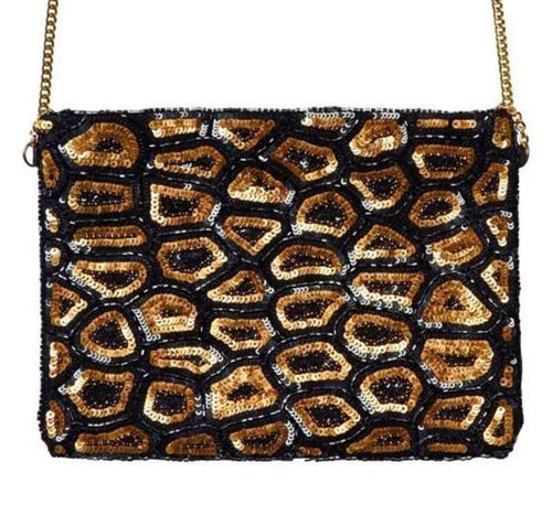 Sequins Animal Print Clutch w/ Gold Chain Strap (BSB3548)