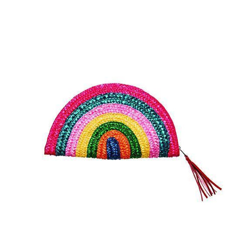 WOMENS STRAW RAINBOW CLUTCH (BSB1738)