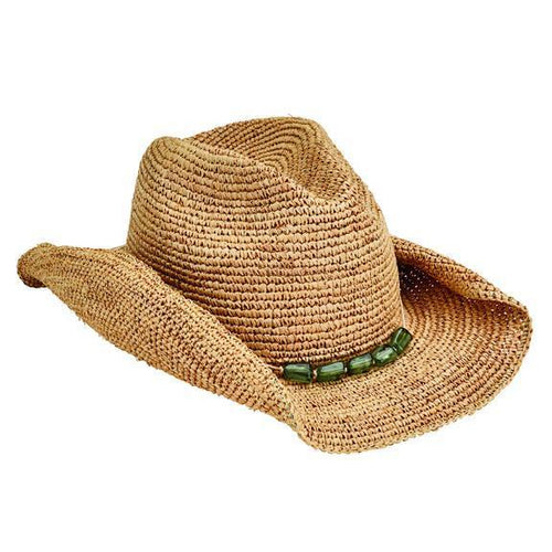 COWBOYS - Women's Crocheted Raffia Cowboy With Stone Trim
