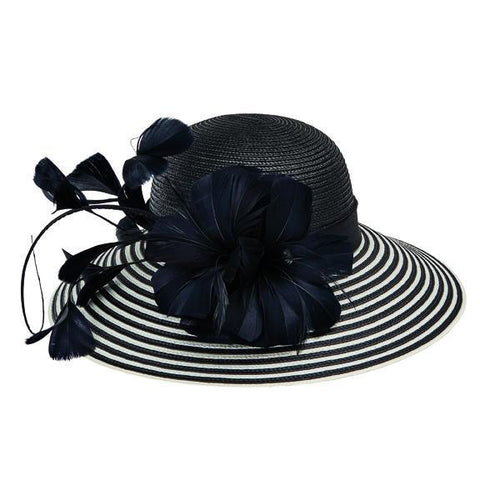Women's mesh organza wide trim dress hat with rosette petals