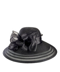 DRESS - Womens Poly Dress Hat With Organza Bow