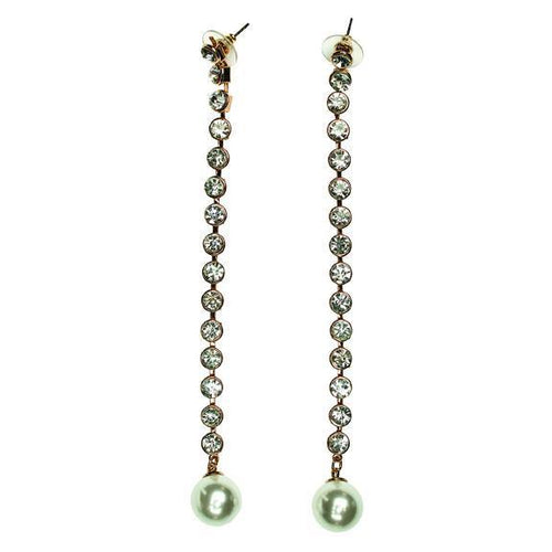 long rhinestone with pearl drop earrings (BSJ3507)