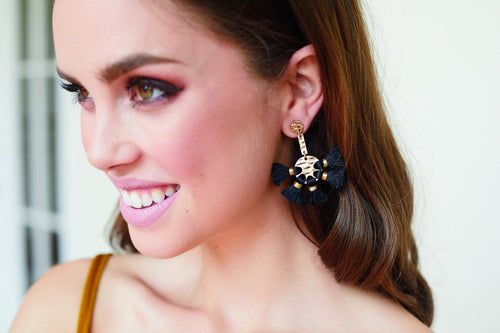 tassel around disks drop earrings (BSJ3515)